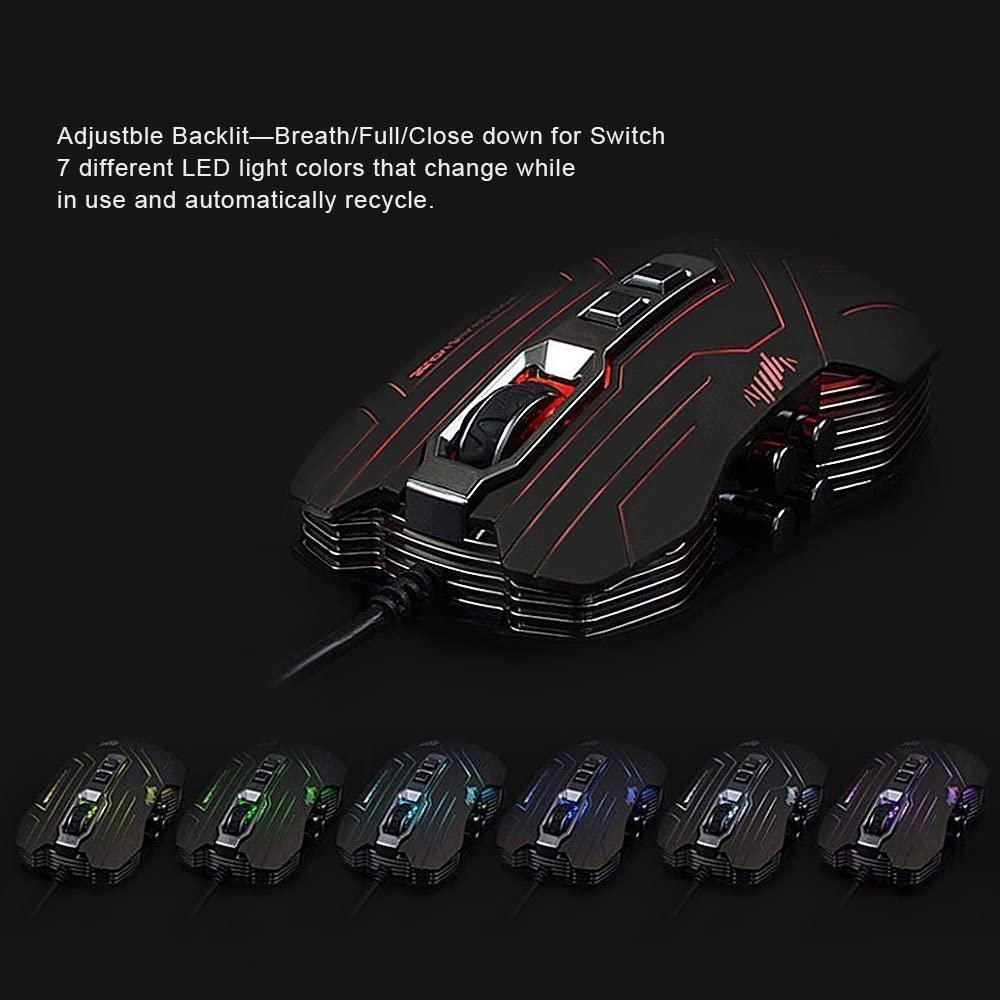 Prunend Gaming Mouse Programmable Wired LED Optical 9 Buttons with 1200//1600//2400//3200 DPI for Pc//Mac//Notebook Black