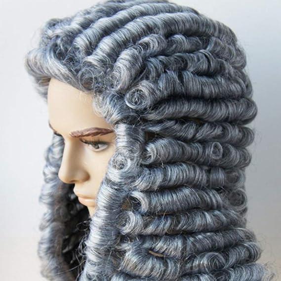 RANRANHOME Abogado Peluca Juez Largo Rizado Gris Hombres Colonial George Washington Histórico Traje De Halloween Vestido Accesorios: Amazon.es: Hogar