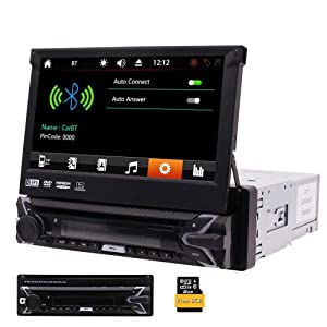 Universal Single 1 Din In-Dash Car DVD CD Player 7 inch Retractable Touch Screen Car Monitor player GPS Navigation Car Radio Bluetooth FM/AM USB/SD AUX Wireless Remote Control Included