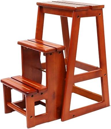 Madera Maciza 2/3 Pasos Taburete Escalera Plegable Escalera Portátil Silla Asiento Versátil Hogar Cocina Baño Muebles de Oficina Escalera Taburete (Size : 3-Tier): Amazon.es: Hogar