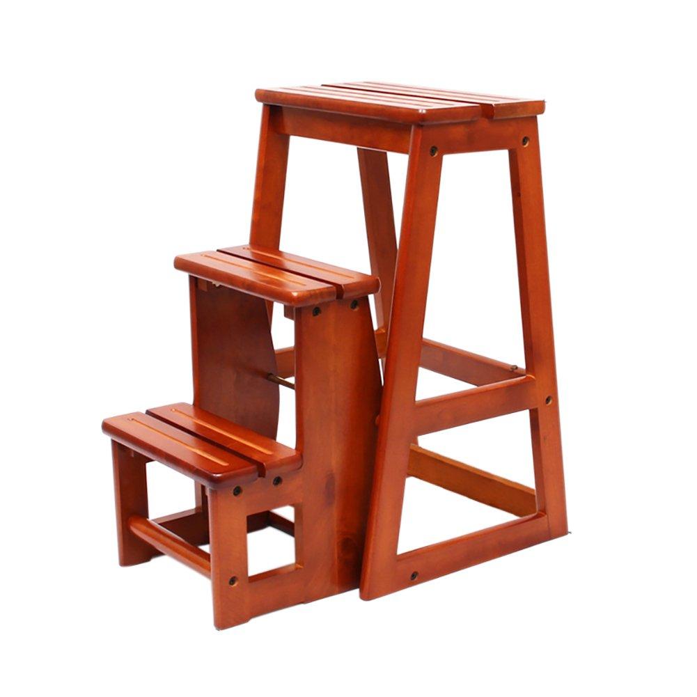 はしご便 ソリッドウッド階段スツールステップスツール多機能キッチンラダースツール折り畳み家庭用木製階段ラダー (色 : Honey color) B07F3MSS3Q Honey color Honey color