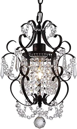 1 Light Wrought Iron and Crystal Chandelier, White