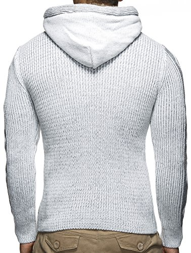 LEIF NELSON Strickpullover mit Kapuze LN4205 (X-Large, Grau)