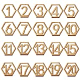 Adv-one Table Number, 1-20 Wedding Wedding Table Number Holders Wooden Table Numbers Party Card Holder Wood Centerpiece Banquet Set, 20 pcs (No 1-20)