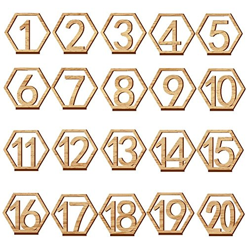 Wooden Table Numbers,Fashionclubs 1-20 Wedding Table Numbers with Holder Base,Hexagon Shape,Perfect for Wedding, Party, Events or Catering Decoration by Fashionclubs
