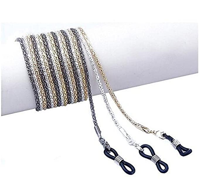 Cordones metálicos antideslizantes para gafas, uso alrededor del cuello, color plateado, dorado y negro, 3 unidades