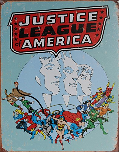 Justice League of America Distressed Retro Vintage Tin Sign