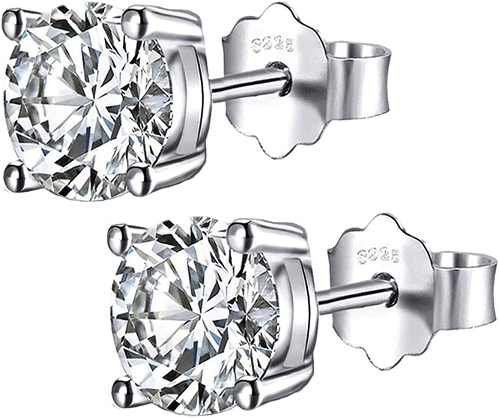 925 Sterling Silver Stud Earrings, Round Clear Cubic Zirconia Stud Earring For women girls men gift