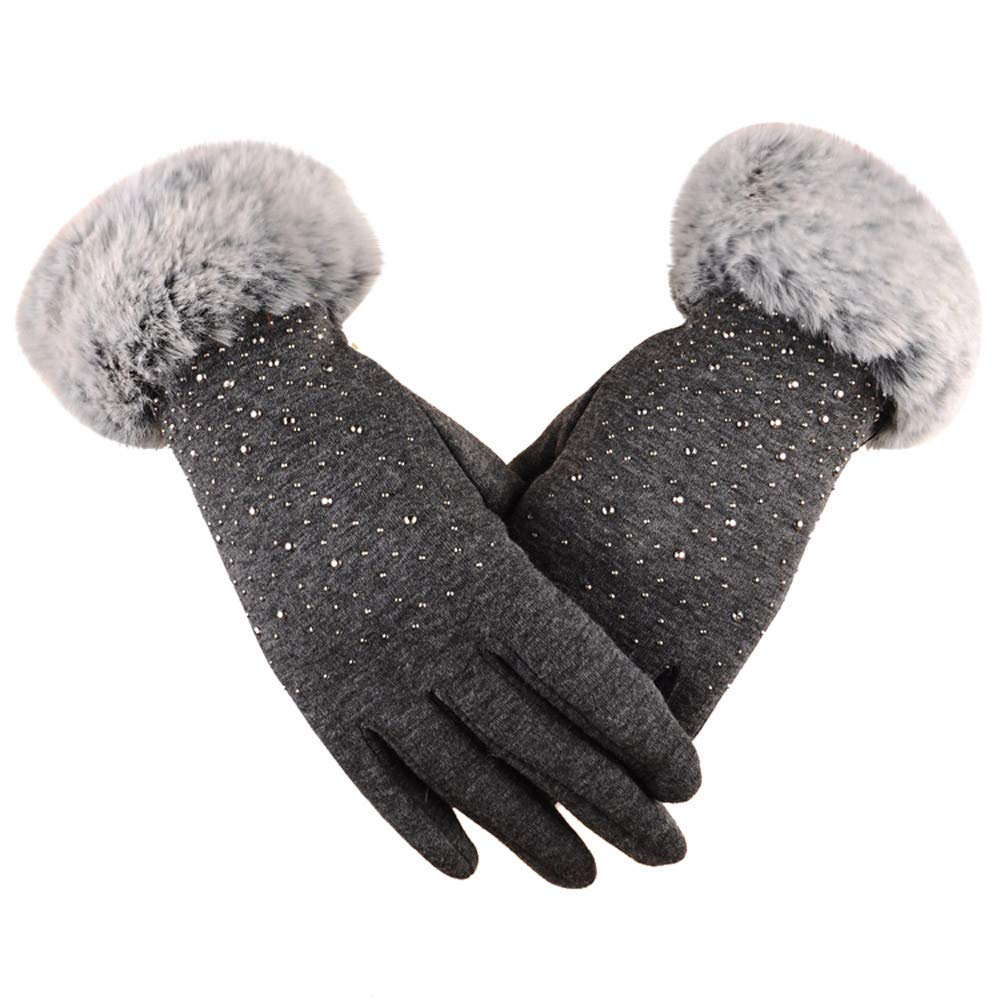 BingYELH Women's Touchscreen Fleece Lining Winter Rhinestone Fur Lining Gloves Ski Windproof Ski Gloves Driving Mittens