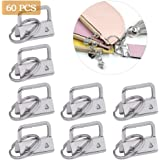 ATPWONZ 60 Pieces Key Fob Hardware Key Chain Fob Wristlet Hardware with Key Ring for Lanyard (25mm)