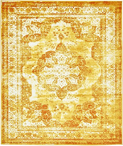 Traditional Persian Vintage Design Rug Gray Rug Yellow 8' x 10' FT (305cm x 244cm) Sofia Area Rug Inspired Overdyed Distressed - Vintage Inspired