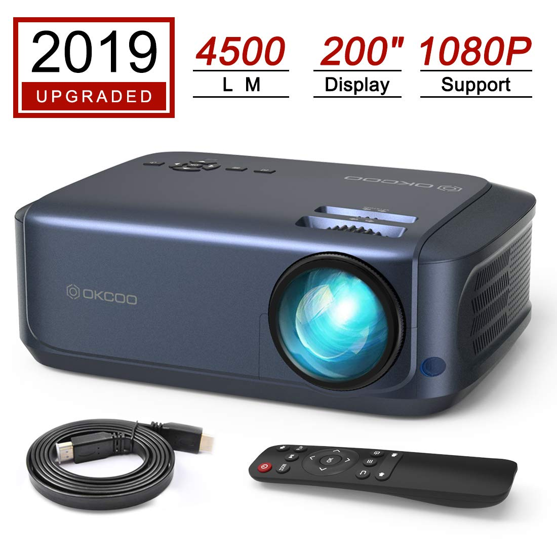 OKCOO Video Projector, Full HD 1080P 4500lm 200'' Display Home Theater Business Office Overhead Projector for Presentation Compatible with PC, Laptop, TV Stick, PS4, HDMI, VGA, TF, USB, AV, Blue by OKCOO