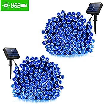 Solar Powered String lights, Fairy Outdoor string decorative lights, 72ft 200 LED 2 work Modes,Solar Ambience Starry Lights for Outdoor, Garden, Home, Wedding, Christmas party waterproof (blue 2 pack)