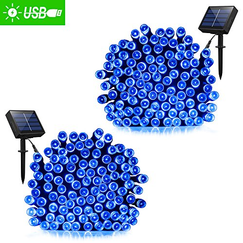Solar Lights Outdoor 72ft 200 LED Fairy Lights, Ambiance lights for Patio, Lawn,Garden, Home, Wedding, Holiday, Christmas, Xmas Tree decoration,waterproof/Timer/USB Charge (Blue 2 pack) (Lights Christmas Twinkling)