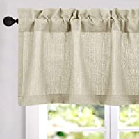"""18 inch Valances Windows Privacy Casual Weave Semi Sheer Kitchen Curtain Valance (54"""" x 18"""", Beige, 1 Panel)"""