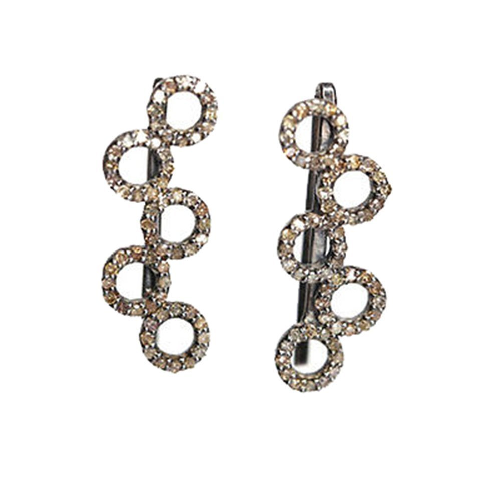 0.64 Ct Natural DIAMOND PAVE CUFF EARRING 925 Sterling Silver Designer Jewelry Manufacturers