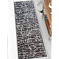 Ecstatic Tribal Vintage Black And White Modern Geometric Microfiber 2x7 (23 x 73 Runner) Area Rug Abstract Lines Stripes Carpet