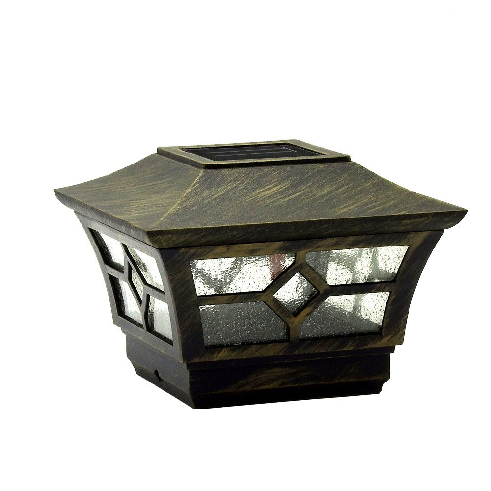 CHEEKON Solar Powered LED Post Caps Light, Fit into 3.5 Inches or 4 Inches Nominal Wooden Posts, Install Size is 3.5 Inches, Metal and Glass, Remington Bronze, Outdoor Garden Yard Deck Street Top