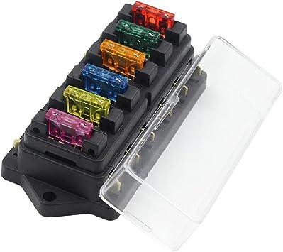 Amazon.com: Ninth-City 6 Way Car Auto Standard Blade Fuse Box Holder Block  with 3A/5A/10A/15A/20A/30A Fuses: AutomotiveAmazon.com