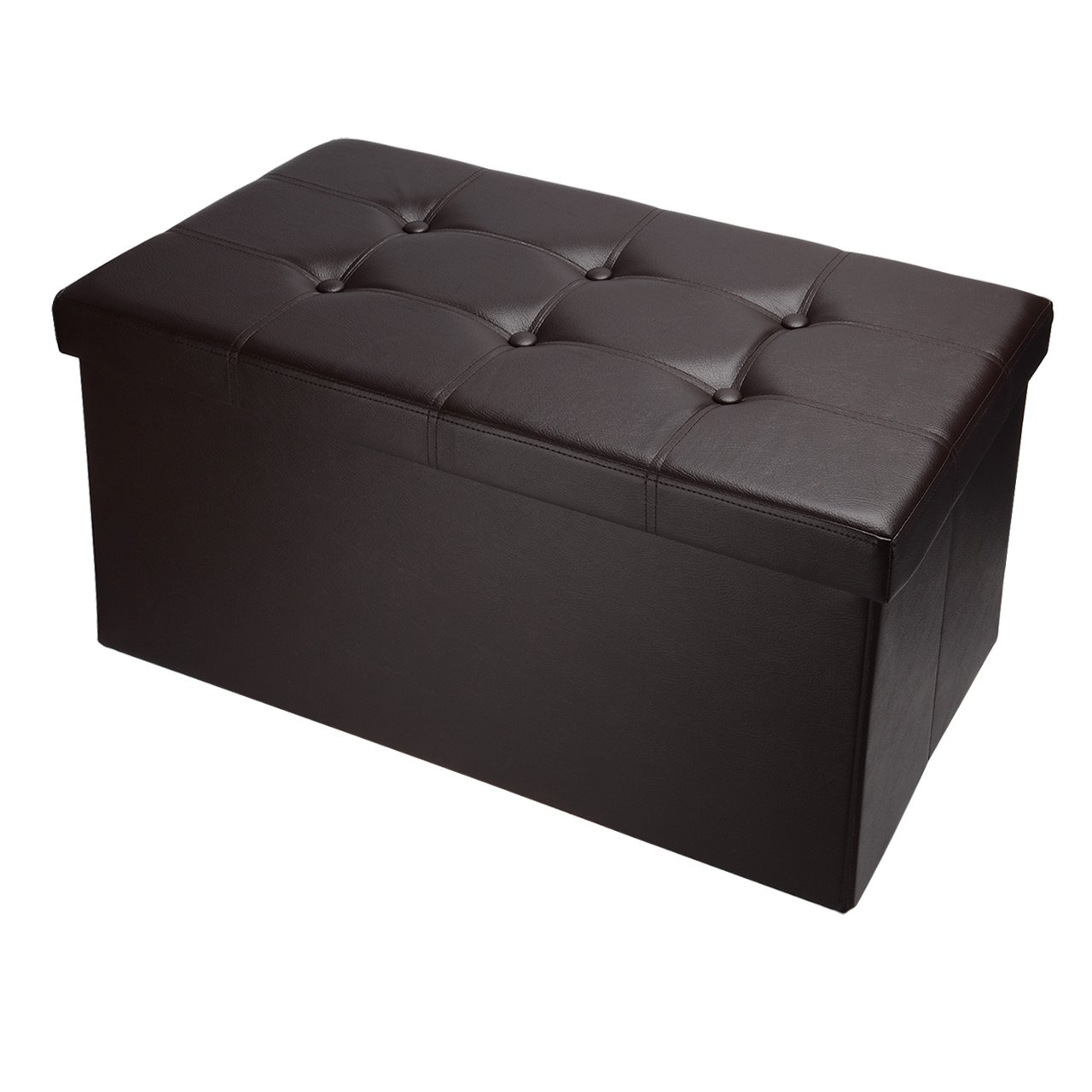 SortWise™ Folding Storage Ottoman Coffee Table Foot Rest Stool/Bench Seat, Faux Leather (Black, 15 x 15 x 15)