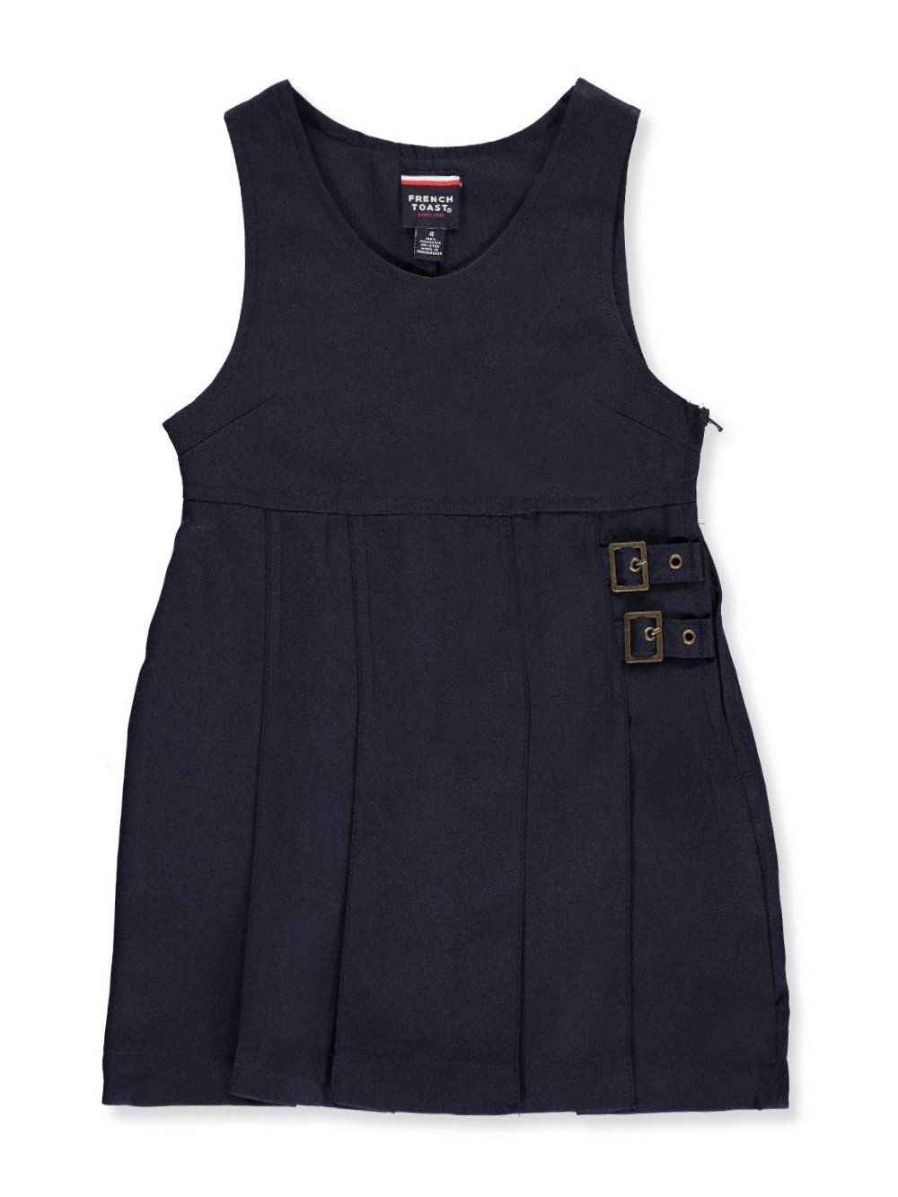 French Toast Big Girls' Double Buckle Tab Jumper - navy, 14