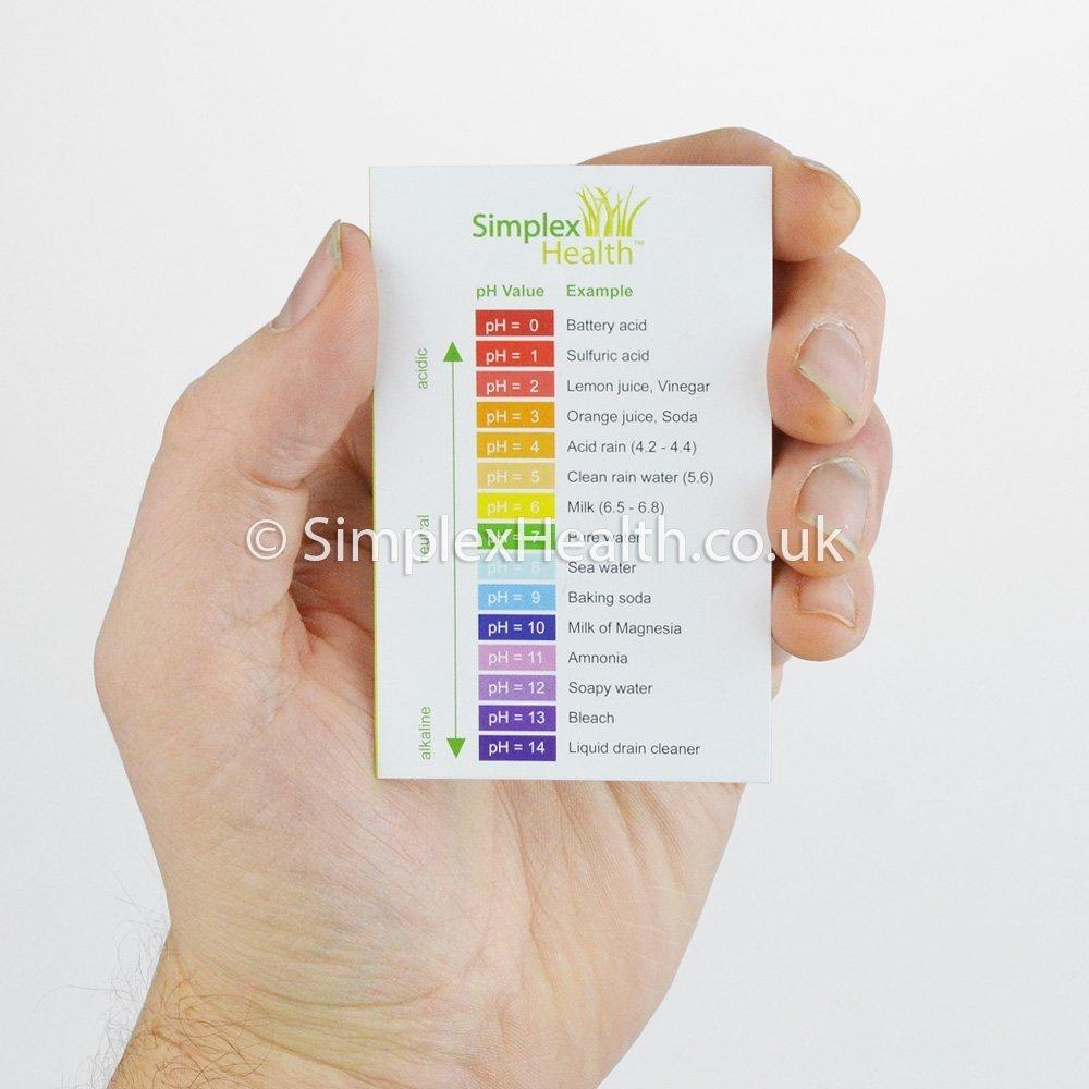 Tiras de prueba para medir el pH de SimplexHealth, universales, con rango de 0 - 14, 100 unidades. Tiras de prueba de con base ácida y guía de pH: ...