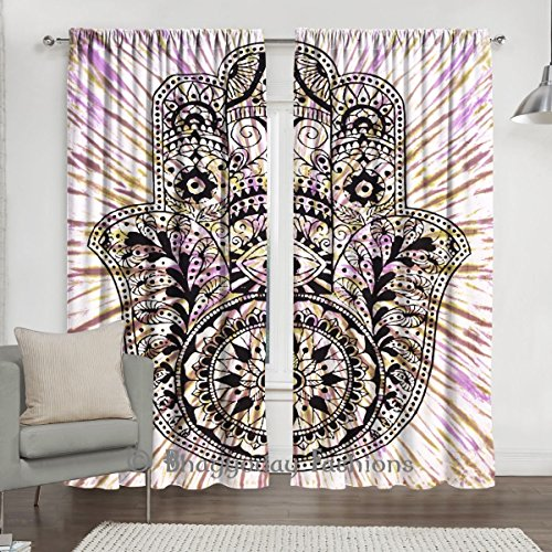 Indian Tie Dye Fatima Hamsa Tapestry Door Curtain, Living Room Bedroom Curtain, Window Treatment Bohemian Curtains 2 Pcs Set 84 x 80