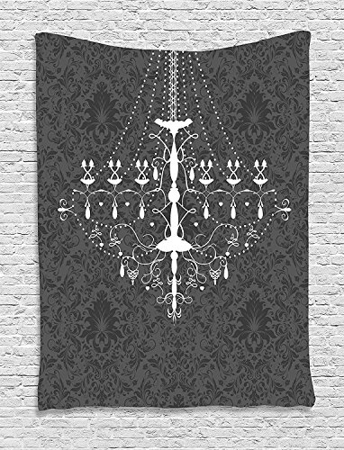 Tapestry Damask - ajnxcid Vintage Tapestry, Victorian Baroque Stylized Nostalgic Chandelier on Damask Background Rococo Design, Wall Hanging for Bedroom Living Room Dorm, 60WX80L Inches, Grey White