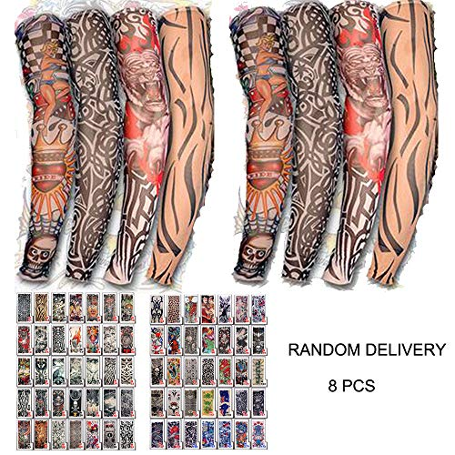 8Pcs Tattoo Sleeves Cooling Arm Temporary Cover Up Art Anti-Slip Seam UV Sun Protection (Random) -