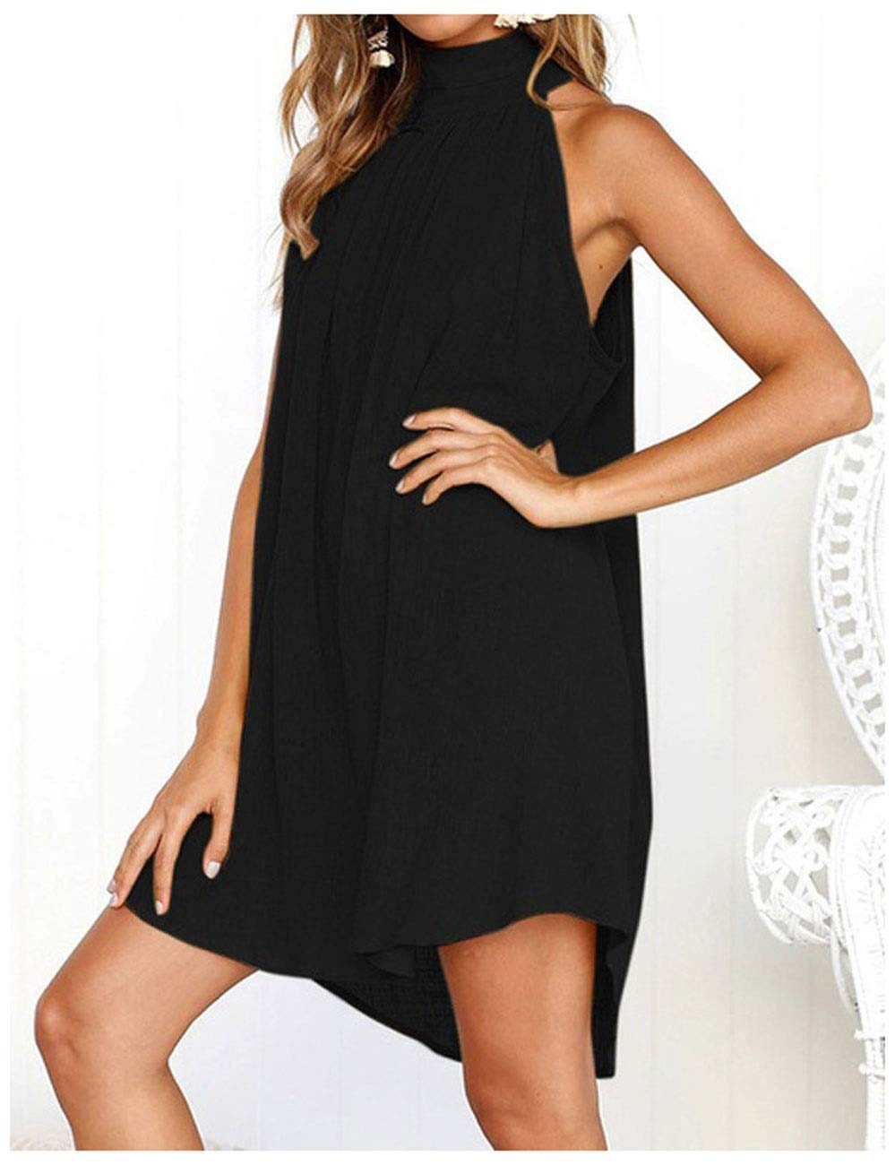 A LLJ Summer Cotton and Linen Women's Vest Dress Round Neck Folds Sleeveless Backless Skirt Irregular Beach Skirt (color   D)