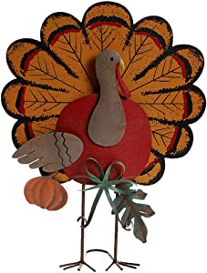 "MorTime Thanksgiving Metal Turkey Decoration, 15"" Indoor Standing Turkey Pumpkin Decor for Home Office Bedroom Kitchen Thanksgiving Harvest Day"