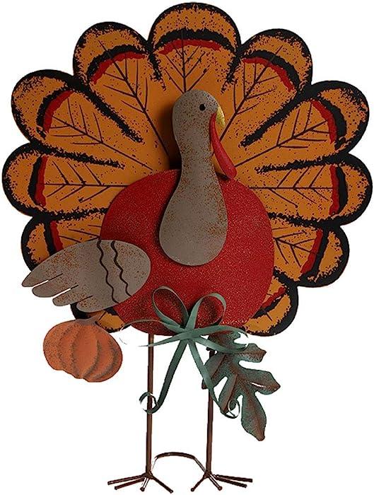 "MorTime Thanksgiving Metal Turkey Decoration, 15"" Indoor Standing Turkey Pumpkin Decor for Home Office Bedroom Kitchen Thanksgiving Harvest Day"
