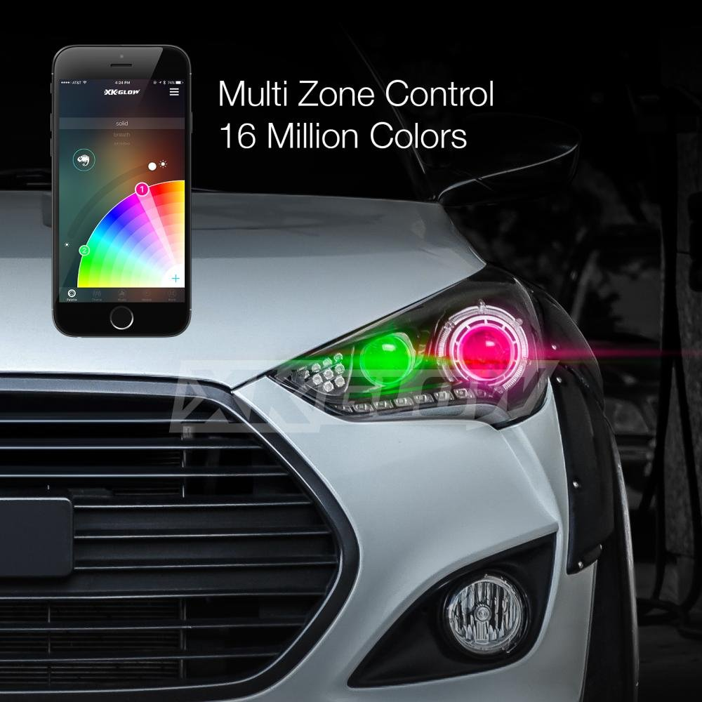 Colour changing car technology - Amazon Com H7 2in1 Led Headlight Bulb Kit Xkchrome Smartphone App Enabled Bluetooth Rgb Demon Eye Led Headlight Conversion Automotive