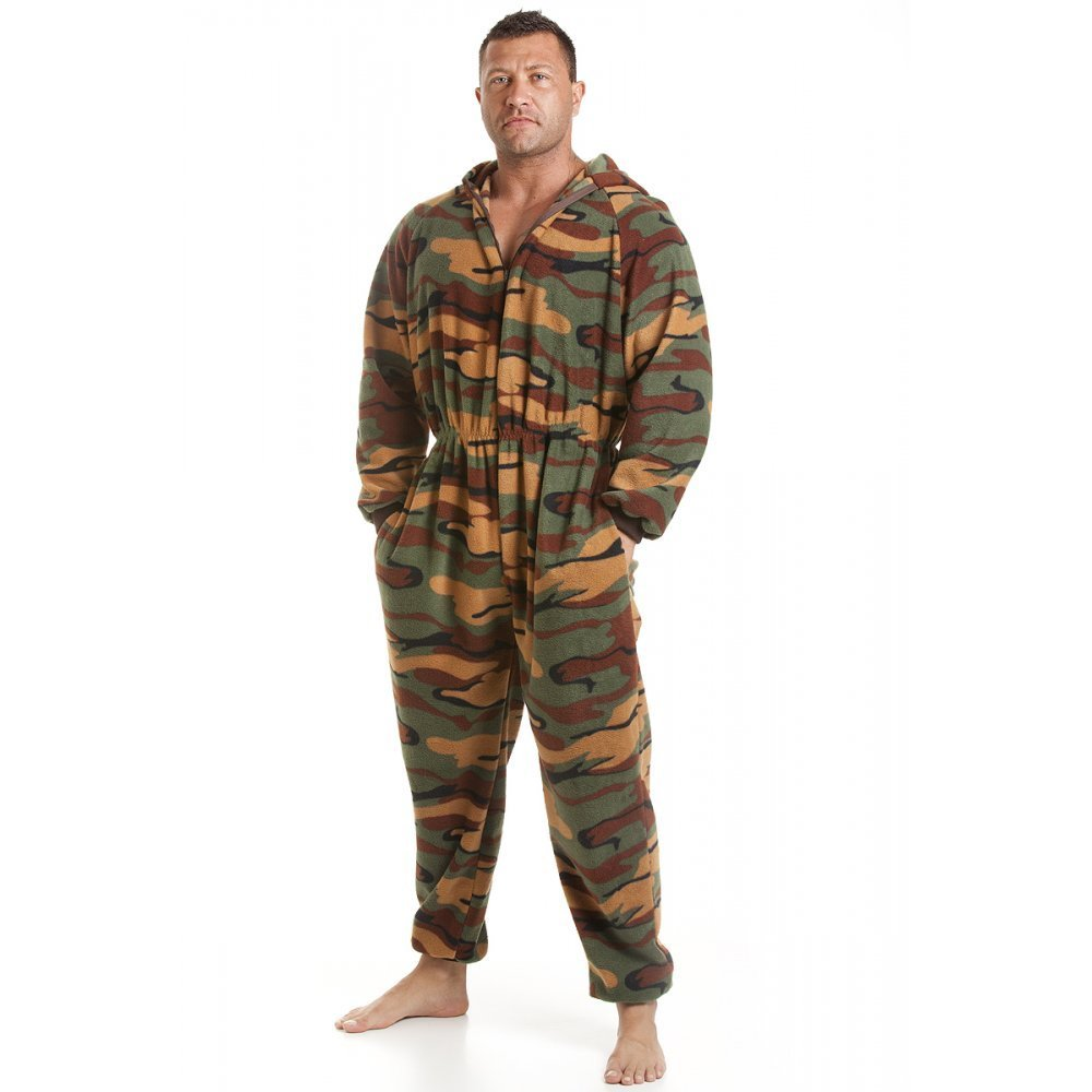Camille Mens All In One Green Camouflage Print Fleece Pocketed Pyjama Onesie Size S-5XL