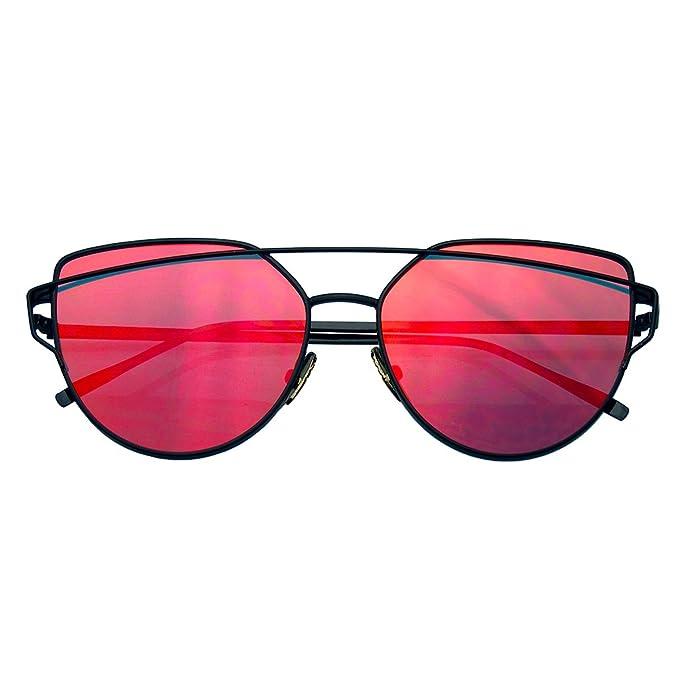 Emblem Eyewear - Lentilles Plates De Miroir D'oeil De Chat Aviator Lunettes De Soleil En Métal De Cadre De Lunettes (Rose) lvcvg5E