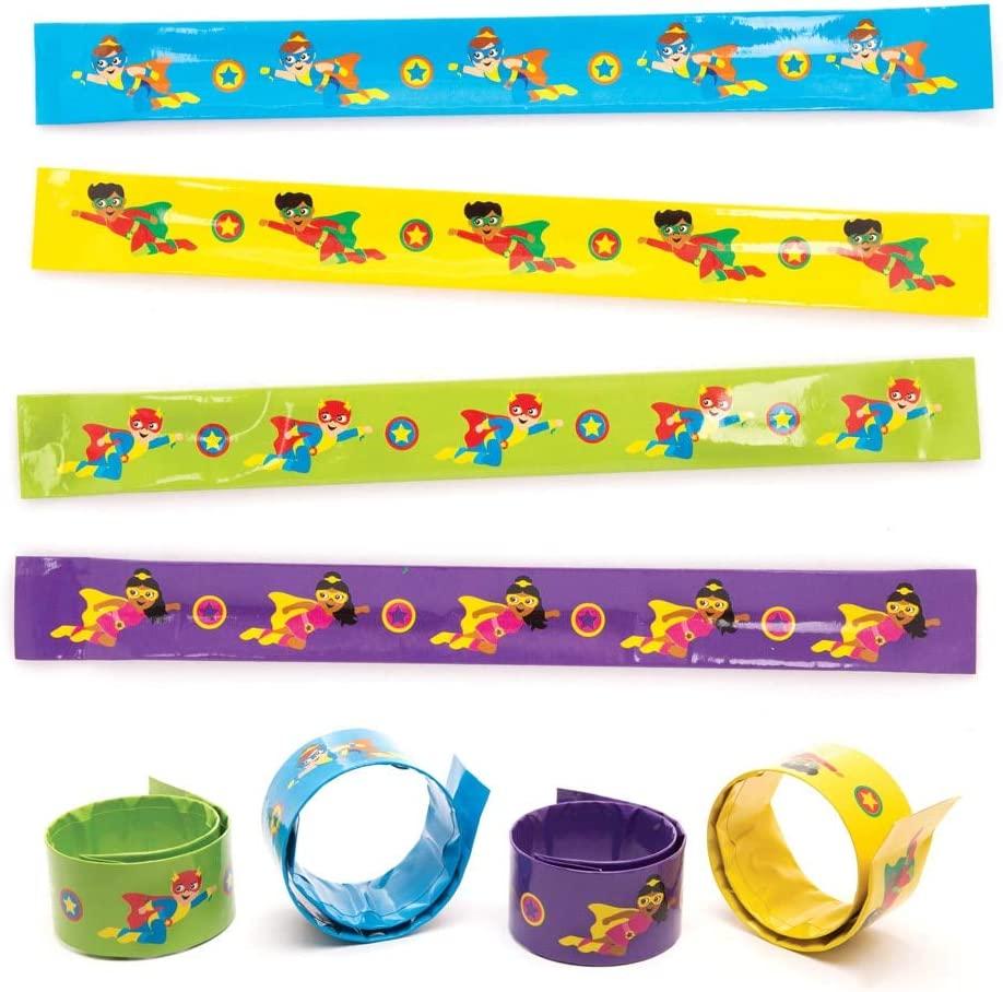 12 Super Hero Bracelets Pinata Toy Loot//Party Bag Fillers Wedding//Kids