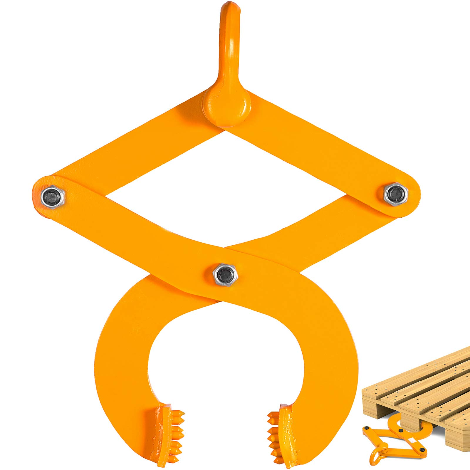 BestEquip 3T Pallet Puller Steel Single Scissor Yellow Pallet Puller Clamp 6614 LBS Capacity Pallet Grabber 6.3 Inch Jaw Opening x 0.5 Inch Jaw Height