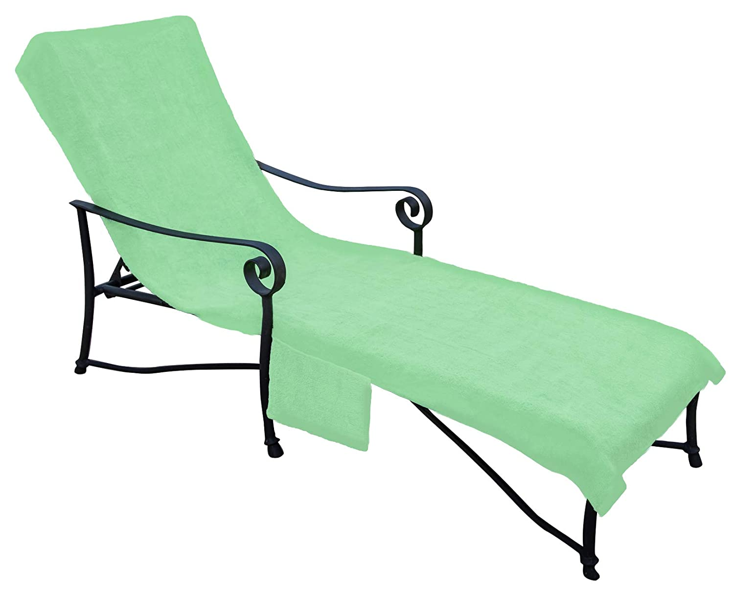 Pool side 1000 gram chaise cover pool lounge chair cover lawn chair cover patio chair cover with 10 inch slip on back and side pocket pool paradise green