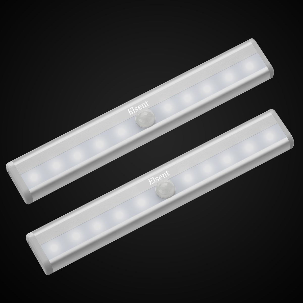 Super Bright Motion Sensor Light, Stick-on Anywhere LED Night Lights, Perfect for Cabinet, Closet, Stairway and Hallway (Battery Powered, White Glow, 2 Pieces)