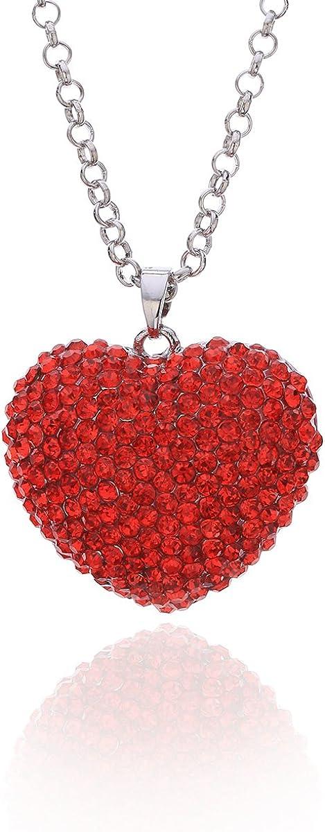 Ouran Collar Largo para Mujer, Collar Colgante con Forma de corazón de Amor para niñas. Collar de Cadena de Plata con Cristal