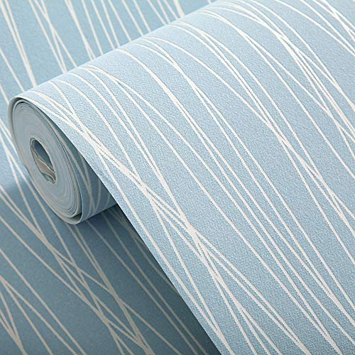 Modern Wallpaper Stripe (Blooming Wall:Non-woven Classic Plain Stripe Moonlight Forest Textured Wallpaper,20.8 In32.8 Ft=57 Sq ft Per Roll,Light Blue)