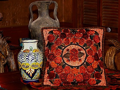 Rust & Red Embroidered Guatemalan Throw Pillow Cover