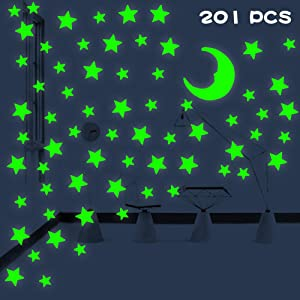 Glow Stars, Ceiling Stickers Non-Toxic Reusable Glow in The Dark Stars & Moon for Starry Sky Amazing Room Decorations Parties (201 Counts with Sticky Pads)