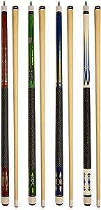 "Set of 4 Pool Cues New 58"" Billiard House Bar Pool Cue Sticks"