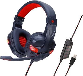 Auriculares Juegos Ps4, con Microfono Diadema Ajustable, Bass 3,5Mm Jack, Luz Led, Control De Volumen, Gamer Auriculares con micrófono Bajo Ruido para Ps4/Xbox One/Nintendo Switch/Pc/MóVil: Amazon.es: Electrónica