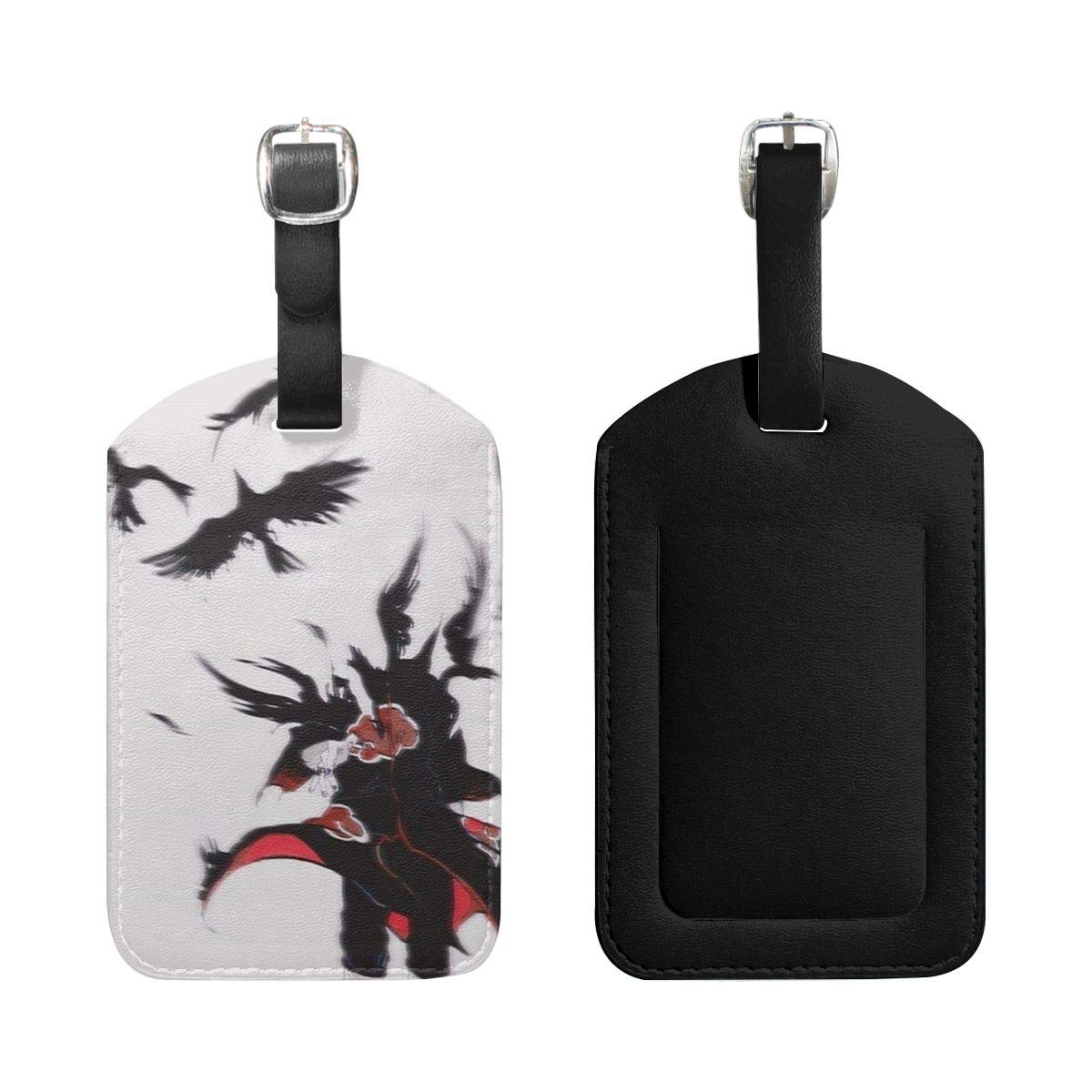 Set of 2 PU Leather Luggage Tags Uchiha Itachi Suitcase Labels Bag Adjustable Leather Strap Travel Accessories