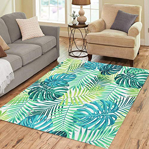 Semtomn Area Rug 5' X 7' Tropical Leaf Featuring Green Blue Palm and Monstera Plant Home Decor Collection Floor Rugs Carpet for Living Room Bedroom Dining Room