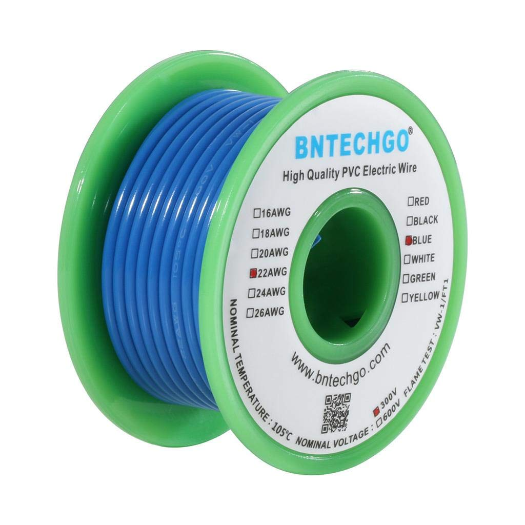 BNTECHGO 22 AWG 1007 Electric Wire 22 Gauge PVC 1007 Wire Solid Wire Hook Up Wire 300V Solid Tinned Copper Wire Blue 25 ft Per Reel for DIY bntechgo.com