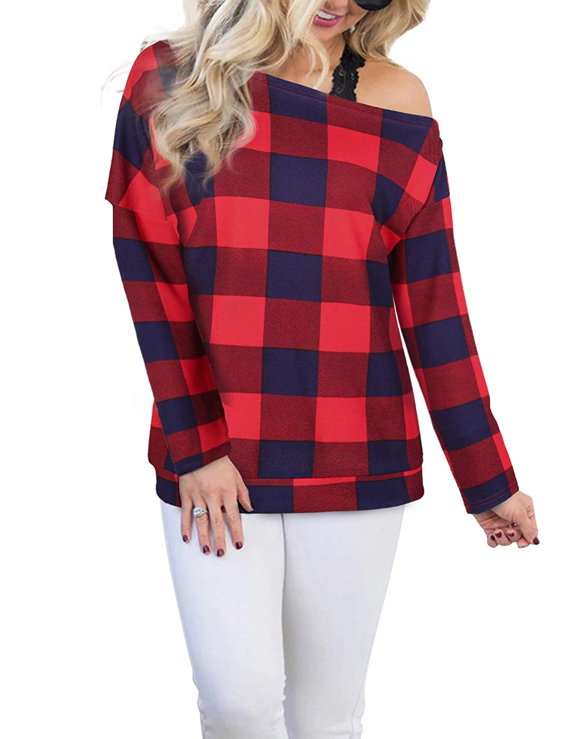 Blooming Jelly Women's Off The Shoulder Plaid Color Block Long Sleeve T Shirt Jumper Ladies Tops