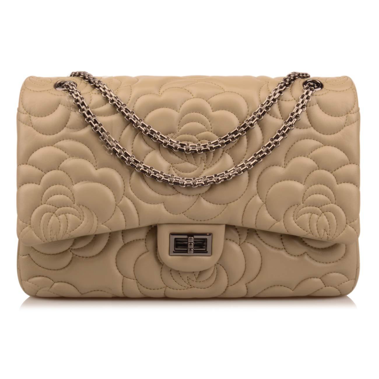 Ainifeel Women's Quilted Oversize Genuine Leather Shoulder Handbag Hobo Bag Purse (X-Large, Greenish taupe flower gunmetal hardware)